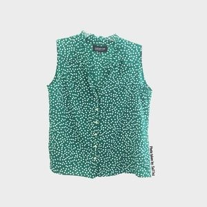 Jones New York Green Polka Dot Sleeveless Top